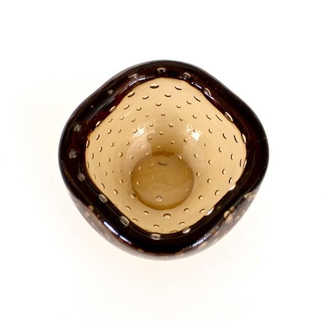 1950s Carlo Scarpa for Venini Murano Bulicante Small Bowl Amber Glass For Sale In Chicago - Image 6 of 10