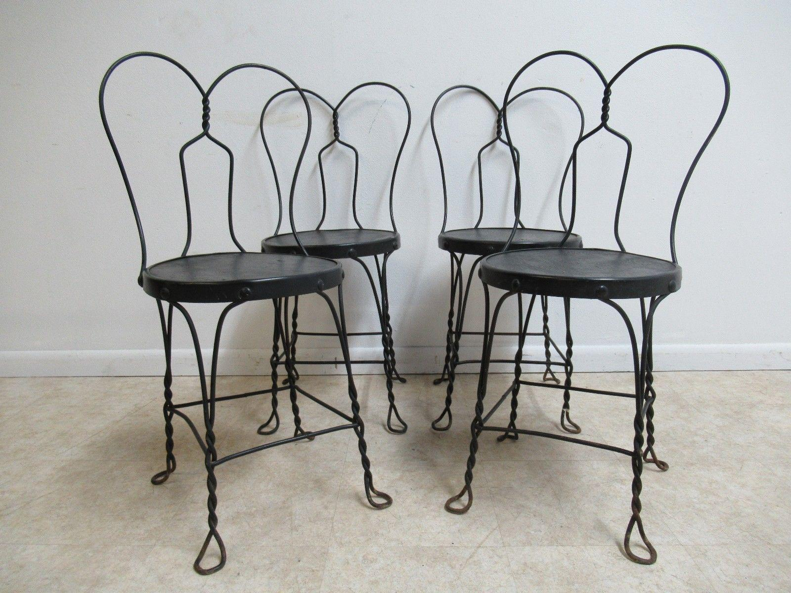 Merveilleux Antique Wire Metal Ice Cream Parlor Salon Game Table Side Chairs   Set Of 4  For