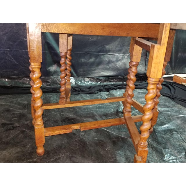 English Oak Drop Leaf Table For Sale - Image 4 of 6