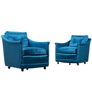 Teal Restored Henredon Arm Chairs - A Pair For Sale