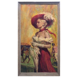 """""""Before the Races"""" Oil on Board by Listed Artist Victor Olsen For Sale"""