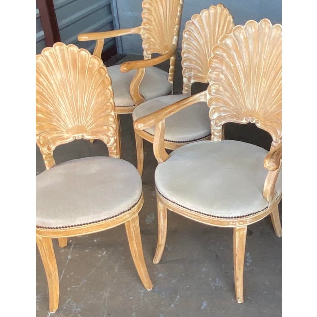 Contemporary Vintage Hollywood Regency Hand Carved Grotto Chairs - Set of 4 For Sale - Image 3 of 7
