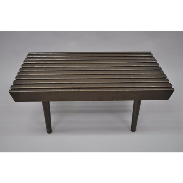 Mid-Century Modern Vintage Mid Century Modern Solid Wood Slat Bench For Sale - Image 3 of 10