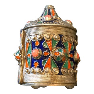 Vintage Moroccan Kabyle Hinged Bracelet Box For Sale