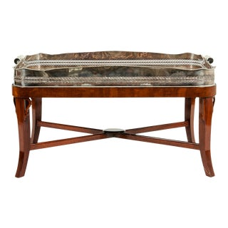 Very Large Plated High Border Tray Table / Tortoise Shell Interior For Sale