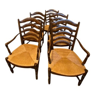 Rustic Farmhouse Ladder Back Chairs With Rush Seats - Set of 5 For Sale