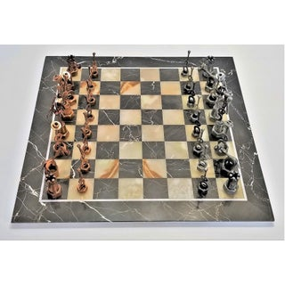 Vintage Mid Century Modern Italian Marble and Onyx Chess Set - Spanish Flamenco Inspired - Brutalist Cubist Artistic Minimalist Preview