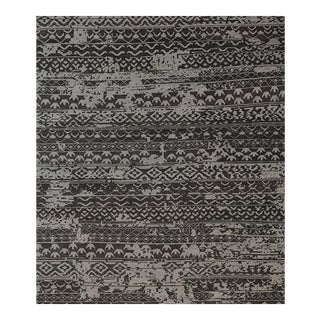 Contemporary Handwoven Black and Gray Wool Rug - 8x10