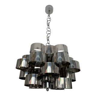Chandelier Metal Chrome by Targetti Sankey. Italy, 1970s For Sale