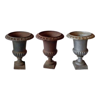 Early 20th Century Traditional Campagna Form Garden Urns - Set of 3 For Sale