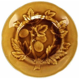 Antique French Majolica Gold Gooseberry Plate For Sale