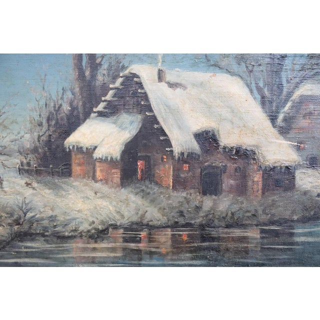 20th Century Italian Oil Painting on Canvas Winter Landscape For Sale - Image 4 of 10