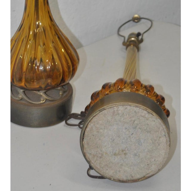 Pair of Hand Blown Murano Table Lamps on Brass Base C.1960s For Sale In San Francisco - Image 6 of 7