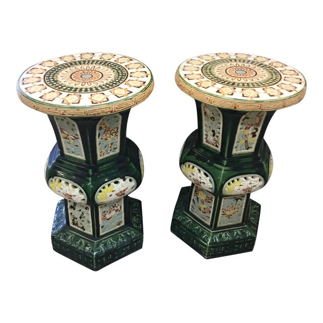 Vintage Chinese Garden Stools - A Pair - Image 1 of 3