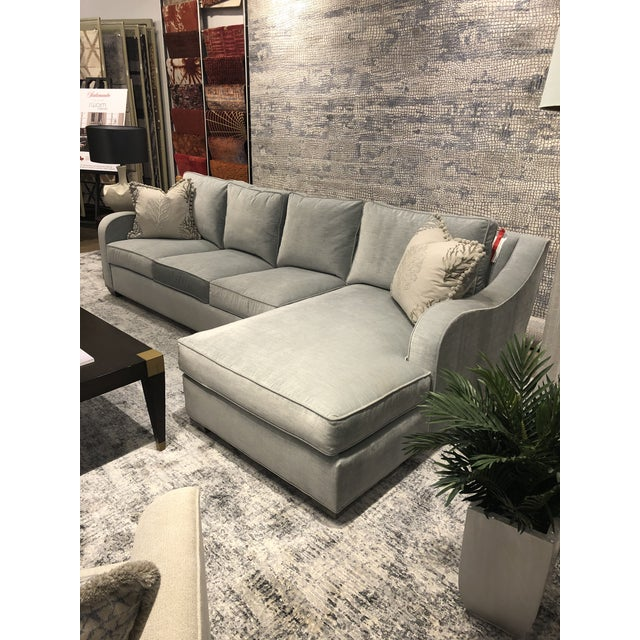 Swaim Factory Transitional 2-Pc Sectional with Pillows For Sale - Image 11 of 12