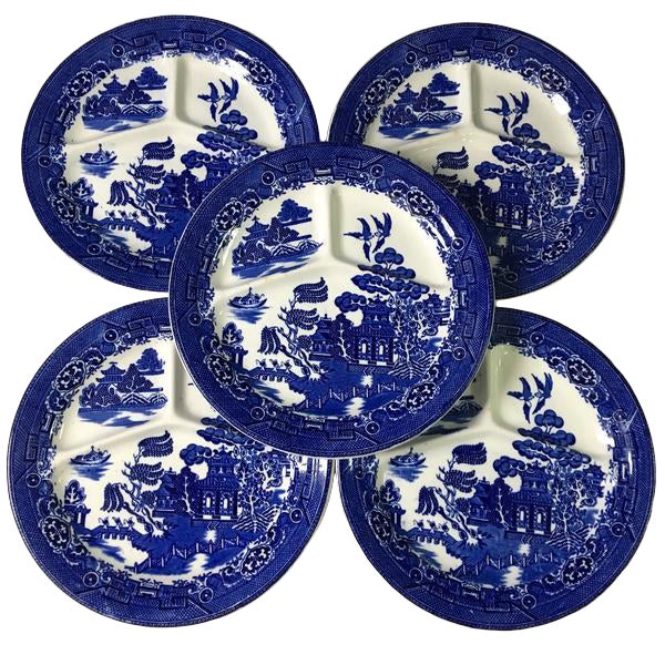 August Hashagen New York Blue Willow Grill Plates Made in England - Set of 6 For Sale