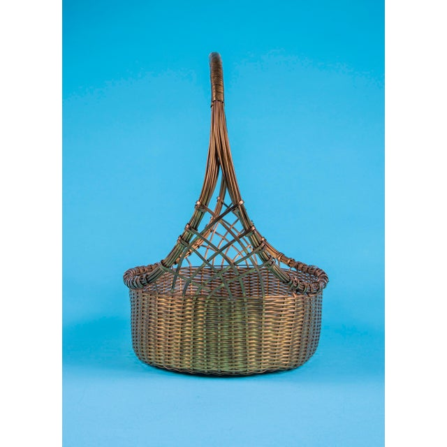1960's Mid-Century Hand Woven Solid Brass Basket For Sale - Image 4 of 9