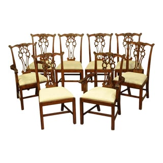 Leighton Hall Mahogany Chippendale Straight Leg Dining Chairs - Set of 8 For Sale