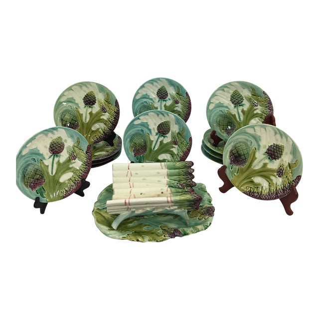 Asparagus and Artichoke Plates With Serving Platter - Set of 12 For Sale