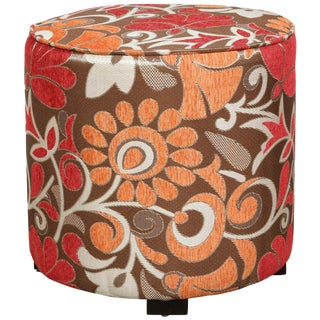 Modern Cylindrical Moroccan Pouf Upholstered in 1970s Style Fabric For Sale