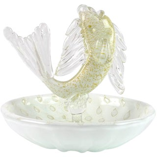 Murano Vintage White Gold Flecks Italian Art Glass Fish Decorative Ring Dish Bowl Mid Century For Sale
