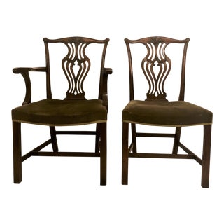 Set of 10 Antique English Chippendale Mahogany Dining Chair, Circa 1880. For Sale