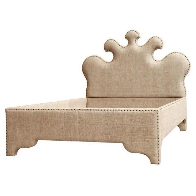 Noir Queen Burlap Bed For Sale - Image 10 of 10