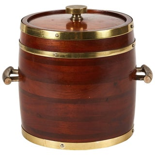 Wooden Ice Bucket With Brass Fittings From England Circa 1920 For Sale