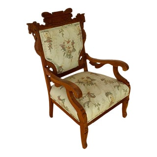 Antique Victorian Eastlake Walnut Wood Side Chair For Sale