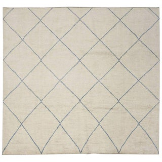 Contemporary Minimalist Moroccan Style Rug - 12′1″ × 13′2″ For Sale