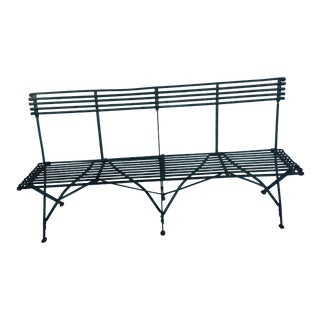 French Rustic Iron Strap Bench For Sale