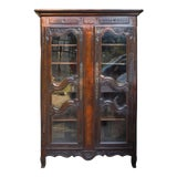 Image of 19th Century French Rustic Carved Wood Armoire For Sale