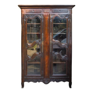 19th Century French Rustic Carved Wood Armoire