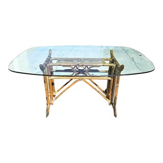 Vintage MCM Boho Chic Pagota Asian Chinoiserie Bamboo Wicker Rattan Dining Table For Sale