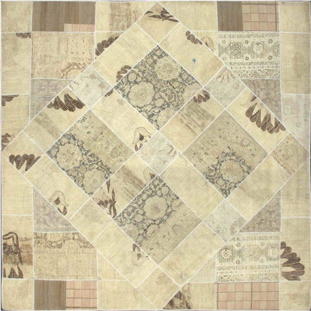 "Tan Square Patchwork Rug - 9'9"" X 9'9"" - Image 1 of 2"