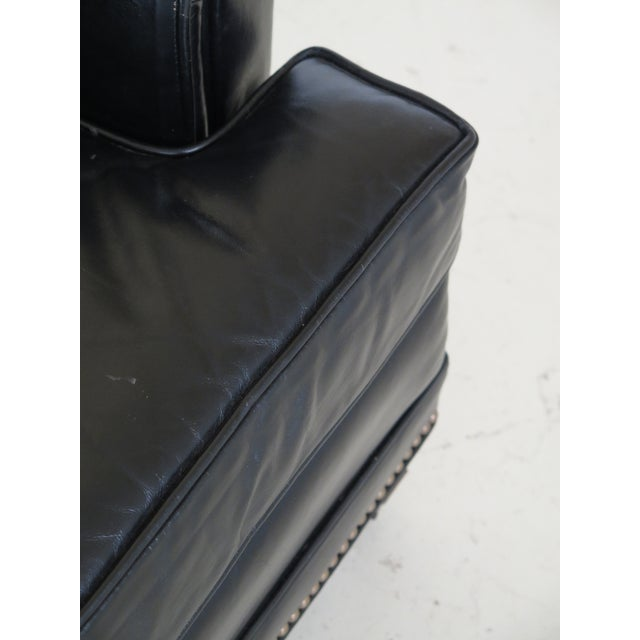 Black Sherrill Black Leather Club Chair & Ottoman For Sale - Image 8 of 13