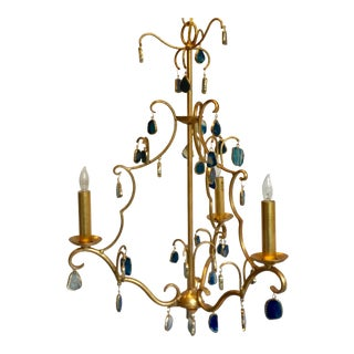 Currey & Co. Transitional Gold and Blue Agate Eudora Chandelier For Sale
