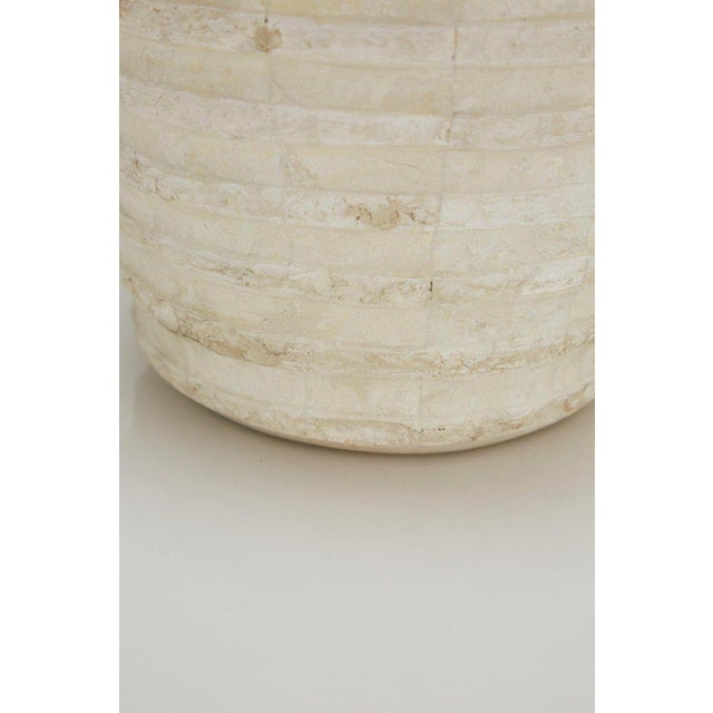 """White 1990s Postmodern Tessellated Stone Inlaid """"Terraced"""" Vase For Sale - Image 8 of 13"""