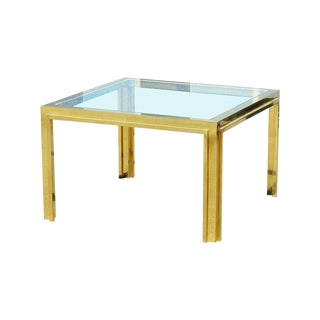 Willy Rizzo Mid-Century Modern Brass & Glass Top Coffee Table For Sale