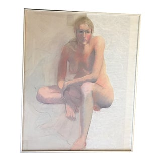 Vintage Female Nude Original Pastel Drawing For Sale