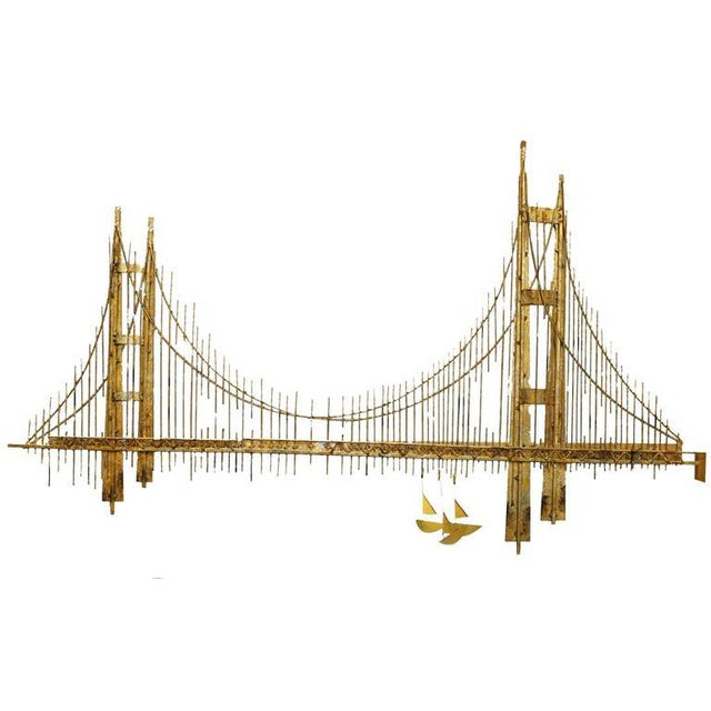 "Original designed by Curtis Jere in the 1970s this Golden Gate ""Bridge"" Brutalist wall sculpture features a mix of brass-..."