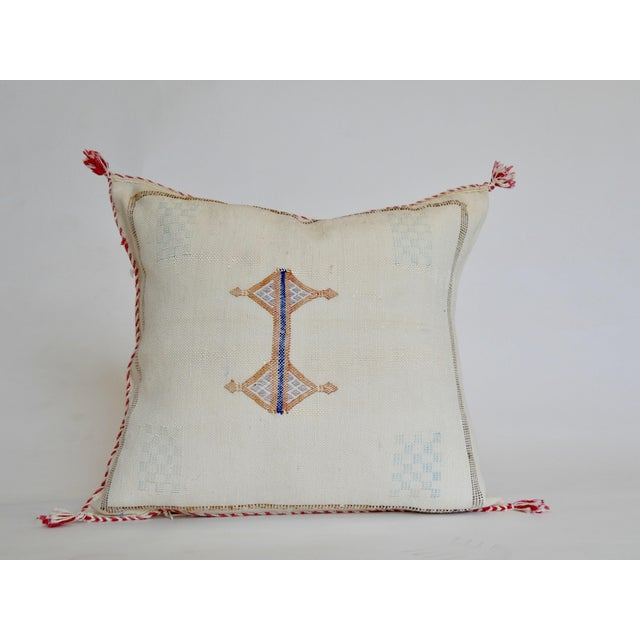 Handmade in: Mid Atlas Mountains in Morocco Width: 20'' Length: 20'' Material: Cactus Silk with embroidery. Detail:...