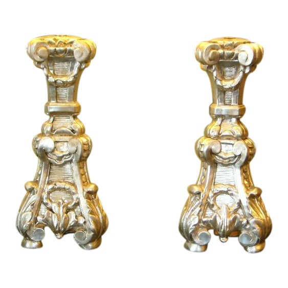 Late 18th Century Italian Silver Gilt Altar Pricket Table Lamps - A Pair For Sale