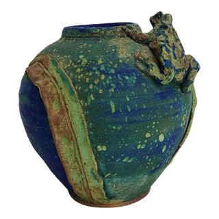Vintage Studio Decorative Pottery Vase With Frog Detail For Sale