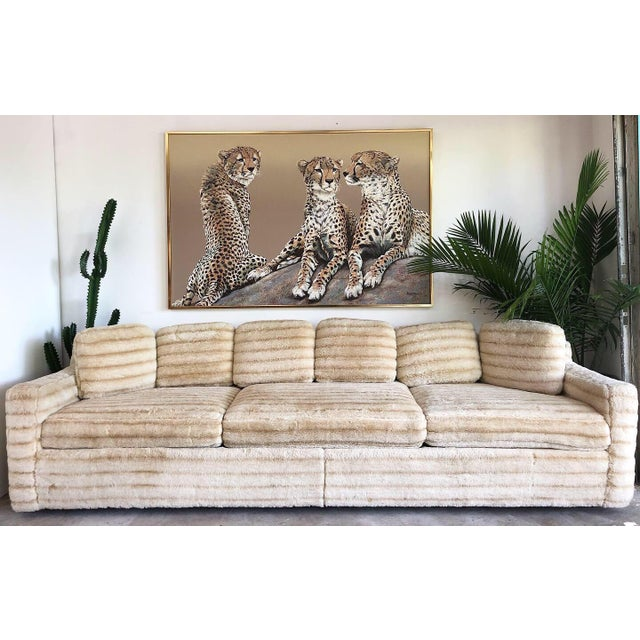 1960s 1960s Vintage Howard Parlor Faux Fur Sofa For Sale - Image 5 of 5
