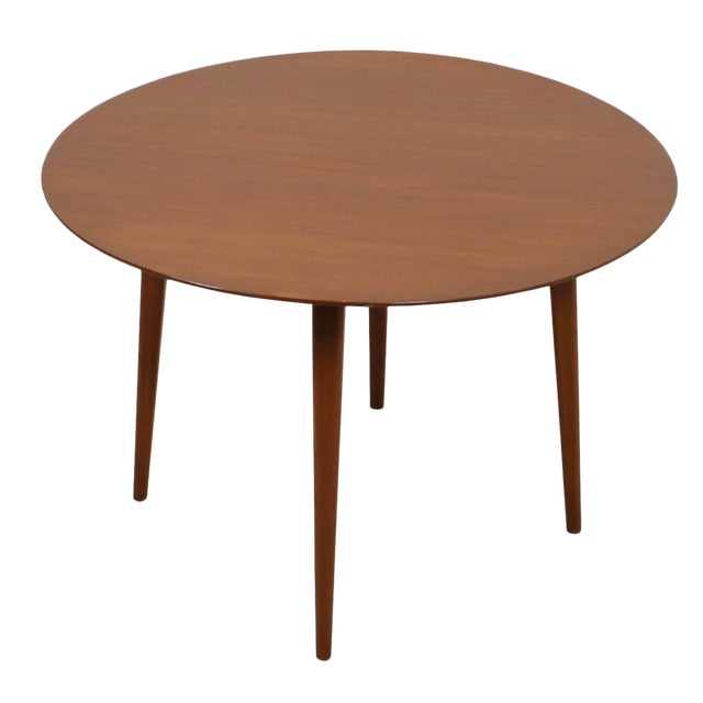 Round Mid Century Coffee Table with Splayed Legs in the Style of Hans Wegner For Sale