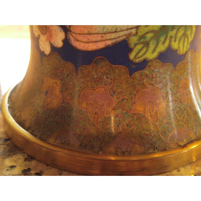 Cobalt Blue Cloisonne Covered Ginger Jar - Image 9 of 11