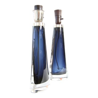 Carl Fagerlund for Orrefors Swedish Modern Blue Crystal Table Lamps - A Pair