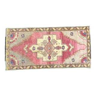 Vintage Faded Ethnic Turkish Handmade Red and Gray Small Rug For Sale