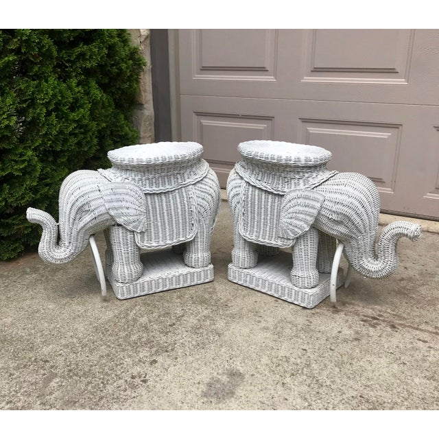 Paint Vintage 1960's White Wicker Elephant Plant Stands / Side Tables - a Pair For Sale - Image 7 of 7